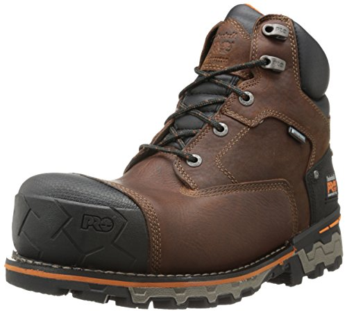 Timberland PRO Men's 6 Inch Boondock Comp Toe Waterproof Insulated Industrial Work Boot,Brown Tumbled Leather,12 W US