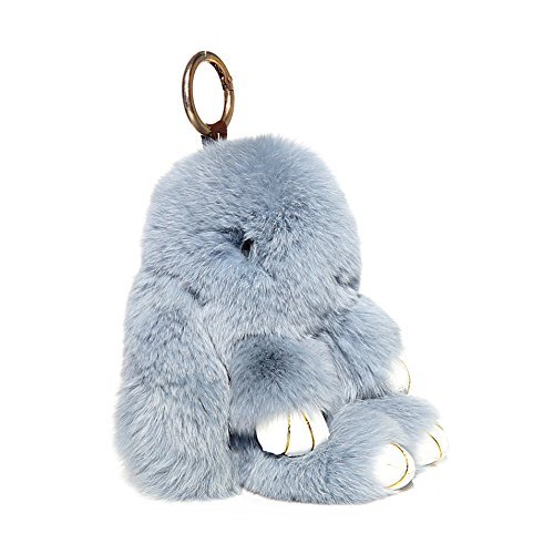 RitzyBay Handmade Rex Rabbit Fur Bunny Keychain with RitzyBay GiftBox (Large, LightGrey) ()