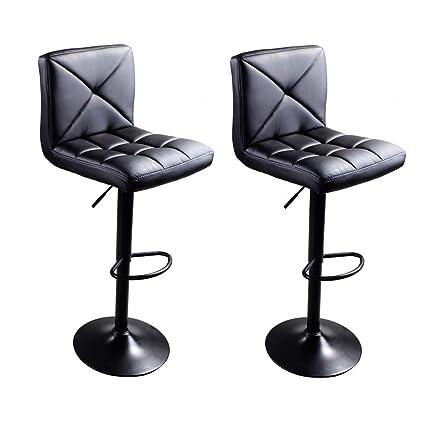 f107361cc725 Amazon.com  Leadzm PU Leather Bar Stools Set of 2 Counter Height ...