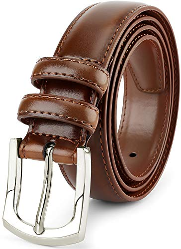 (Men's Genuine Leather Dress Belt Classic Stitched Design 30mm 'ALL LEATHER' Size 48, Peanut Tan)