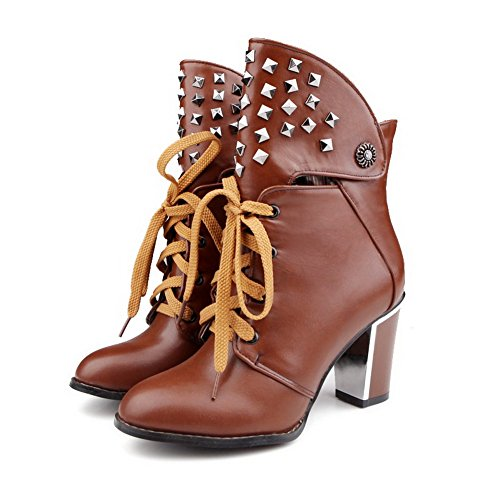 Lace Heels AllhqFashion High Round Womens Toe Brown Boots Solid Closed Up Pu qHxFXHI