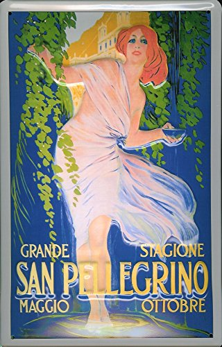"""Price comparison product image San Pellegrino nostalgic 3D embossed & domed strong Metal Tin Sign 7.87"""" x 11.81"""" Inches"""