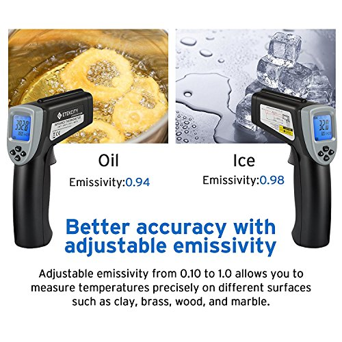 Etekcity Lasergrip 630 Dual Laser Digital Infrared Thermometer -58℉~1076℉ (-50℃ to 580℃) Non-contact Temperature Gun with Adjustable Emissivity & MAX/MIN/AVG Display by Etekcity (Image #5)