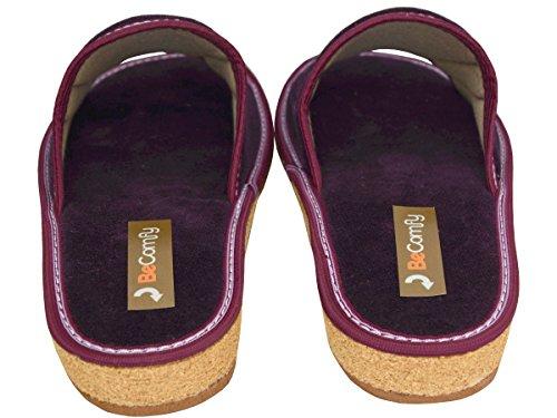 BeComfy Hausschuhe Baumwolle Damen Pantolette Komfort Kork Pantoffeln Latschen Modell DN01 Violett