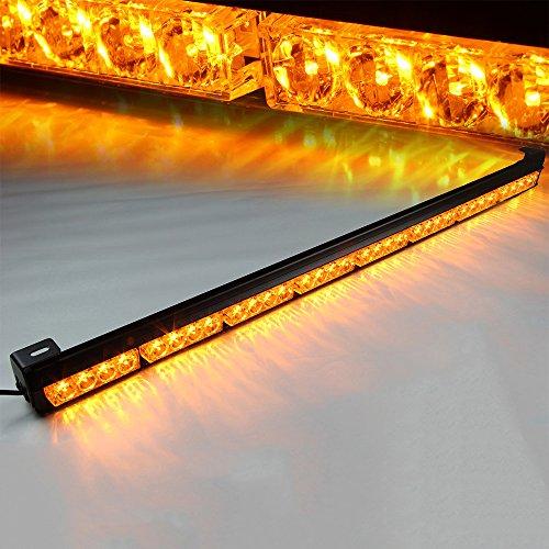 Xprite Amber Yellow 35.5 32 LED 7 Modes Traffic Advisor/Advising Emergency Warning Vehicle Strobe Top Roof LED Light Bar