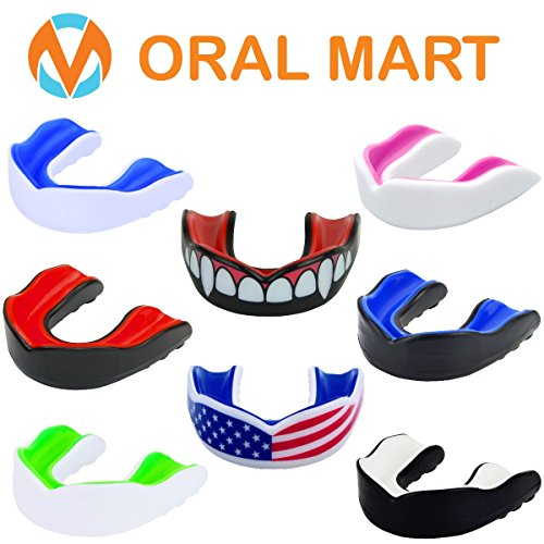Youth Mouth Guard for Kids - Cushion Youth Mouthguard for Karate, Flag Football, Martial Arts, Taekwondo, Boxing, Football, Rugby, BJJ, Muay Thai, Soccer, Hockey (With Free Case) (Boil And Bite Mouth Guard)
