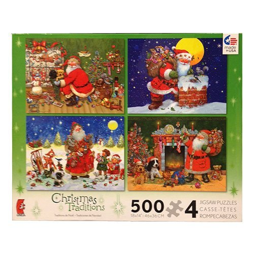 nueva marca Christmas Traditions - Four 500 Piece Piece Piece Jigsaw Puzzles by Ceaco  saludable