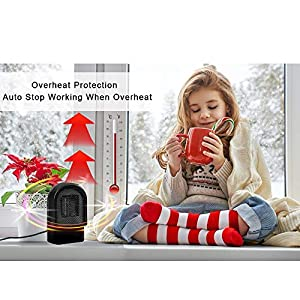 Ceramic Space Heater, Small Electric PTC Heater, Portable Desktop Heater Fan with Auto Shut Off, Tip-Over and Overheat Protection for Home Office 500W (Black)