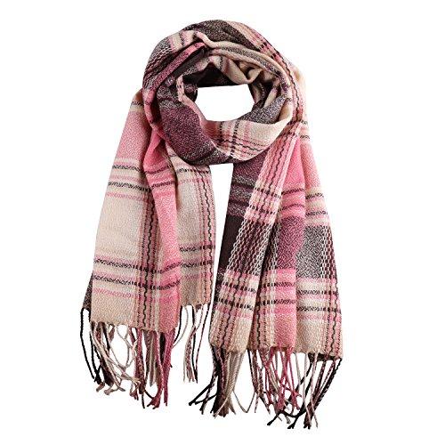 Stylish Long Plaid Cashmere Feel Blanket Lattice Grid Wrap Shawl Scarves (Khaki & Black & Pink)
