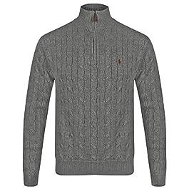Ralph Lauren Half Zip Cable Knit Jumper (Medium, Dark Grey)