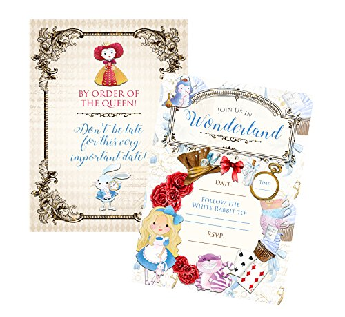 Alice Party Supplies Welcome to Wonderland Birthday (Invitation) 12 Included ()