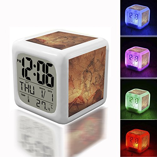 Digital Alarm Thermometer Night Glowing Cube 7 Colors Clock LED Customize the pattern 025.Bisons depicted at Cave of Altamira