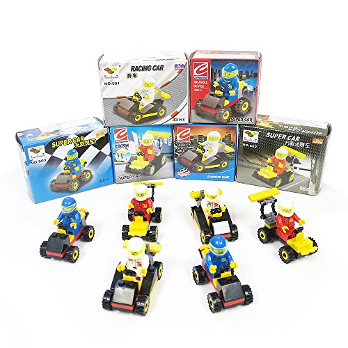 Blue Orchards Race Car Vehicle Brick Sets (12 Pack), Lego-Inspired Car Building Sets, 380 Total Pieces! by Blue Orchards