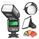 "Neewer® Professional i-TTL Flash Reflector Kit for Nikon D7100 D7000 D5200 D5100 D5000 D3000 D3100 D300 D300S D700 D600 D90 D80 D70 D70S D60 D50 Digital SLR Cameras, includes (1)Neewer VK750 II i-TTL Speedlite Flash with LCD Display for Nikon, (1)6x8""/20x15cm Dome Softbox, (1)22""/60cm 5-in-1 Reflector, (1)35-piece Color Gel Filters"