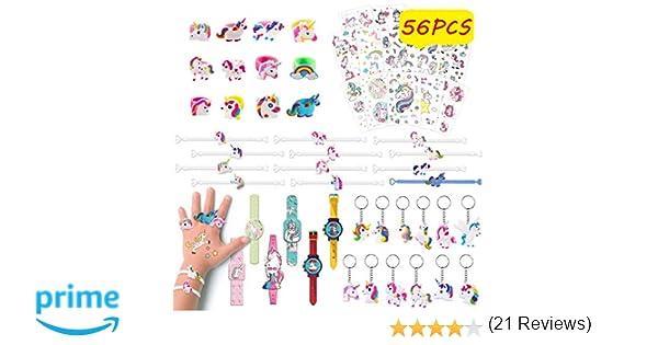 Pachock 56pcs Regalos piñatas de cumpleaños Infantiles Incluye llaveros de Unicornio,Pulseras ,Anillos , Tatuajes temporales, de Infantiles del ...