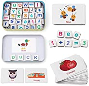 Coogam Wooden Magnetic Letters and Numbers Toys, Fridge Magnets ABC Alphabet Word Flash Cards Spelling Countin