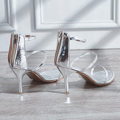 Haut Cheville Talon Orteil Fermeture Bretelles Sandale Chaussure Orteil Ouvert Ouvert Glissière Strappy Argent Talon à Femme wfqFS7W4IF