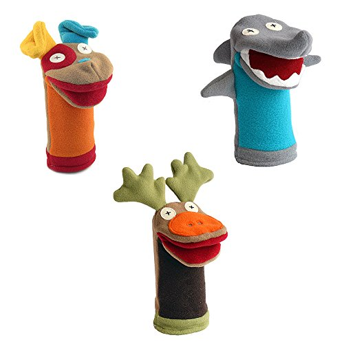 Cate and Levi Favorites Hand Puppets-Set of Three Includes Dog, Shark and Moose (100% USA Polar Fleece) for sale