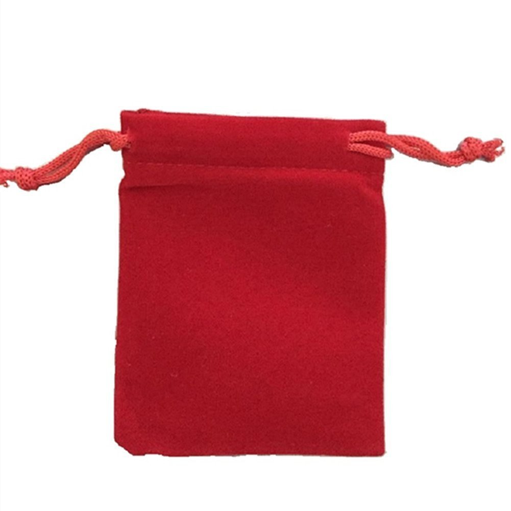 KUPOO 50 Pieces Wholesale Lot - Red Velvet Cloth Jewelry Pouches / Drawstring Bags 3'' X 4''