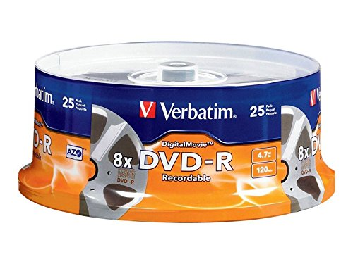 Verbatim Digital Movie DVD-R 4.7GB 8X 25 Disc Spindle 94866