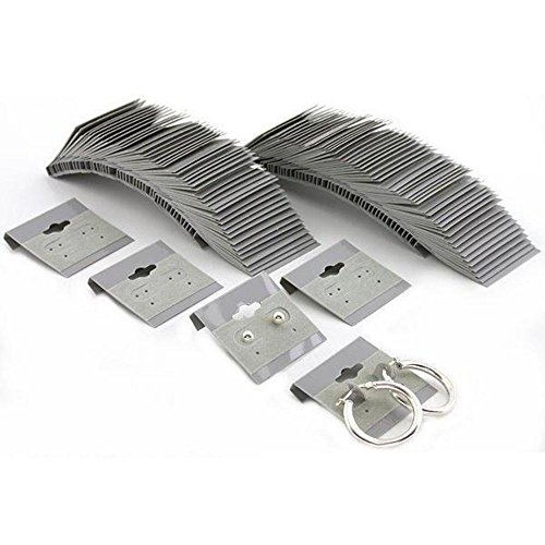 100 Grey Hanging Earring Cards Jewelry Display Pack of 100