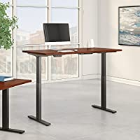 Move 60 Series 72W x 30D Height Adjustable Standing Desk in Hansen Cherry with Black Base