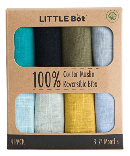 (Little Bot Muslin Reversible Bandana Bib. 4 Pack, 100% Cotton.)