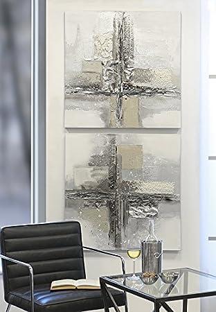Ölbild Cross Leinen/Holz/Metall Weiß/grau/braun/silber 80 X