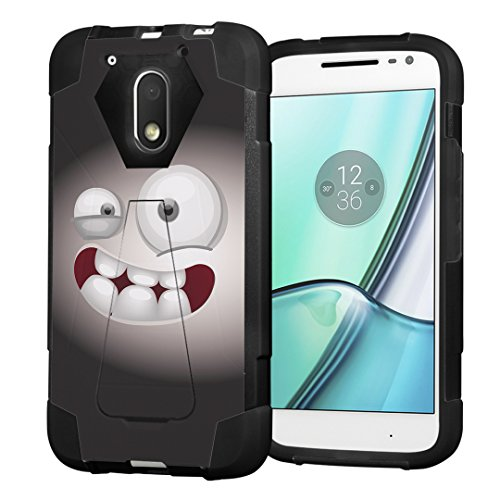 Moto G4 Play Case, Moto G Play Case, Capsule-Case Hybrid Fusion Dual Layer Shockproof Combat Kickstand Case (Black) for Motorola Moto G4 Play/Moto G Play 4th Gen - (Smiley - G Case Moto Monster
