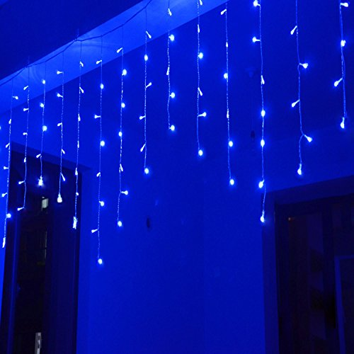 Lightspot 4M/13Ft 96 LED 8 Modes Curtain Window Decorative Room Patio Parties Rope String Wave Light (4M 96LED, Blue) (Christmas Blue Lights Icicle)
