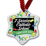Personalized Name Christmas Ornament, Classic design I Survived Catholic School NEONBLOND