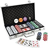 Everything you need for a friendly game of poker at home in one great package. The chips are heavy 11.5 grams each and are perfectly balanced to give you authentic casino feel and sound. The dice striped chip design is the most popular design...