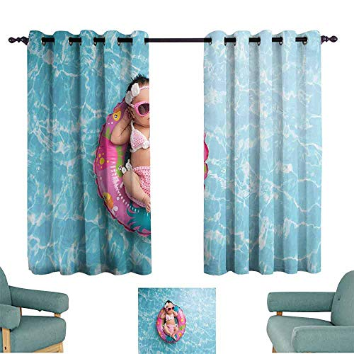 SONGDAYONE Baby Home Curtain Nine Days Old Girl Sleeping on Tiny Inflatable Ring Crocheted Bikini Sunglasses Maintain Good Sleep Tan Multicolor (2 Panels,W108 xL72)