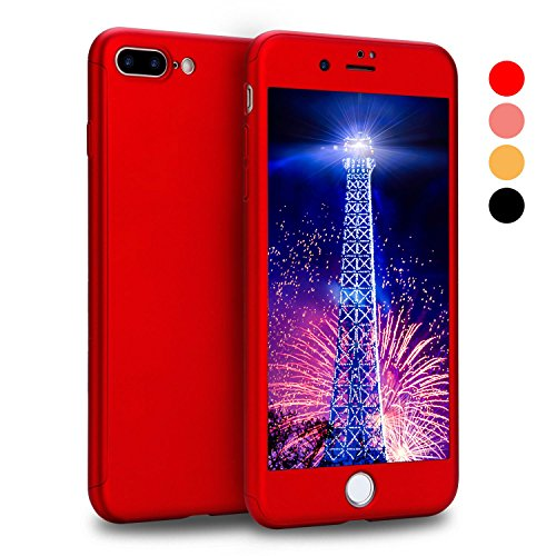 iPhone 8 Plus Case, AOKER 360° Full Body Protection All-around Ultra Slim Anti-Scratch Coated Non Slip Matte Surface with Free Tempered Glass Screen Protector for Apple iPhone 8 Plus (Red)