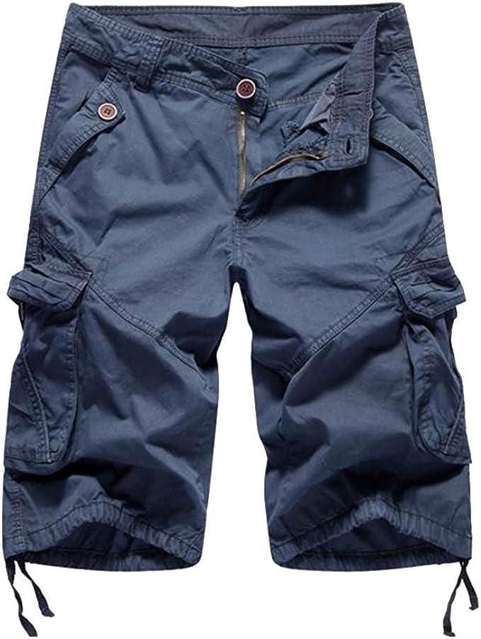 Pantalones Cortos de Cargo Hombre Múltiples Bolsillos Color Sólido ...