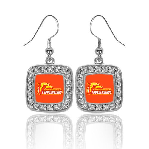 Earrings Primary Logo (NMJC Crystal Studded Square Pendant Silver Dangle Earrings 'Primary Logo')