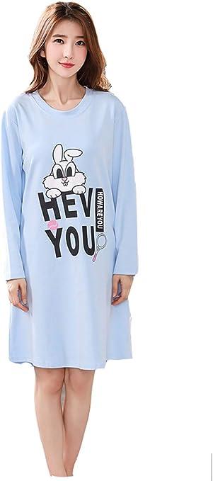 Pijama Mujer Algodon Otono Manga Larga camisón Mujer Talla Grande Ropa de Dormir Vestido Casual (M-2XL): Amazon.es: Ropa y accesorios