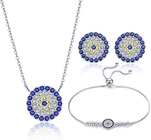 WOSTU S925 Colorful Zircon Silver Jewelry Sets for Women ブライダルジュエリー プラチナメッキシルバーセットジュエリー(ブレスレット/ネックレス/ピアス) 3点セット レディース