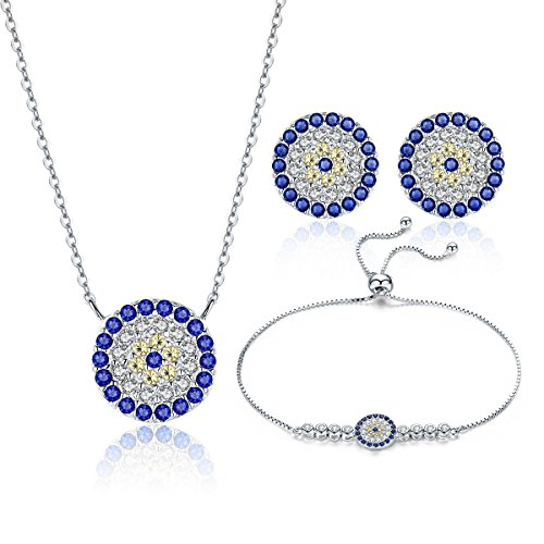 (WOSTU Christmas Jewelry Gifts 925 Sterling Silver Evil Eye Jewelry Set Silver Necklace Bracelets Earrings)