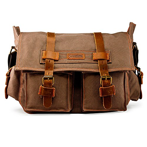 GEARONIC GEARONIC Mens Canvas Leather Messenger Bag for 14' 15' 17' Laptop...