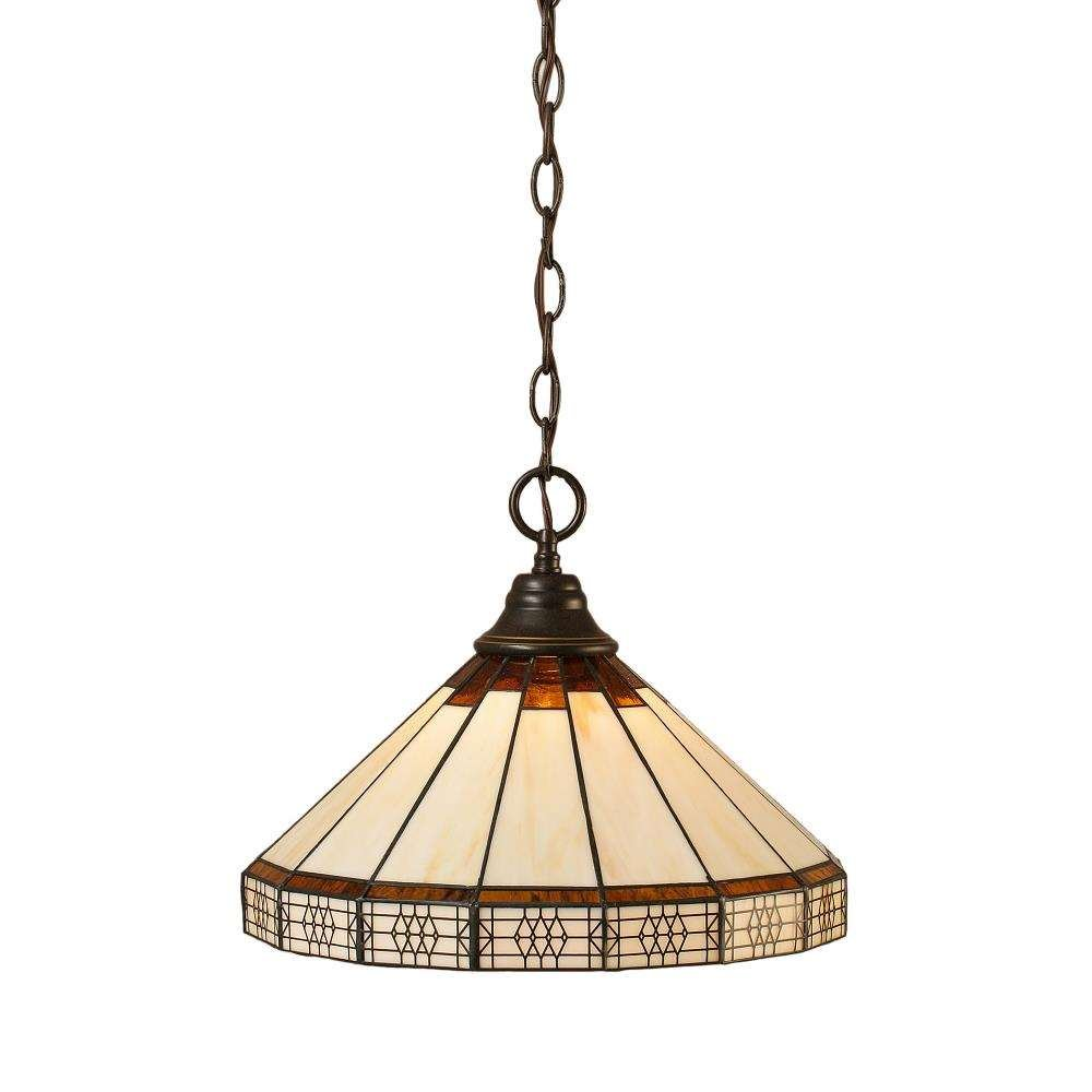 Toltec Lighting 10-DG-964 Chain Hung Pendant with 15'' Honey and Brown Mission Tiffany Glass, Dark Granite Finish