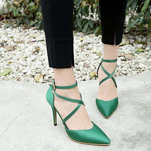 FANIMILA Mujer Moda Cross Strappy Tacon de Aguja Sandalias Verano Cerrado Zapatos Verde