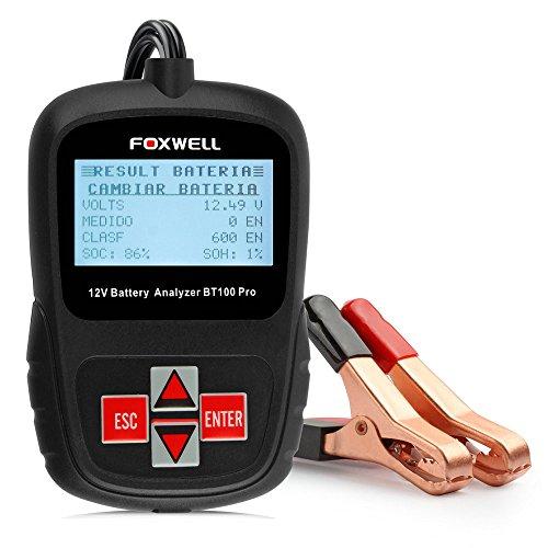 Foxwell BT100 Pro Automotive Battery Tester 12V Digital Battery Analyzer Voltmeter Capacity Tester (Capacity Bt100 Tester Battery)