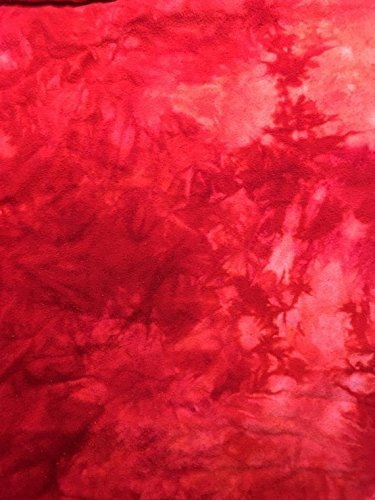 (Shibori Hand Dyed Red Tie Dye Cotton Flannel Quilting Fabric by the Yard)