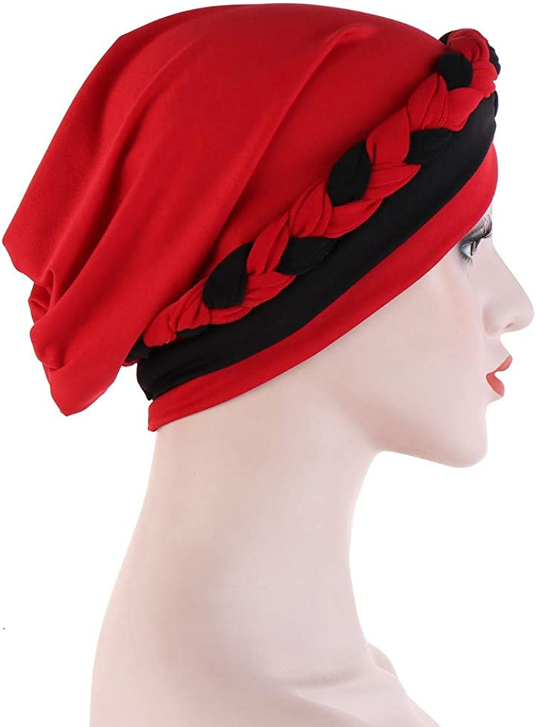 Women Muslim Hat Braid Print Turban Beanie India Caps Ladies Cancer Chemo Head Scarf Hair Loss Wrap Hijab Cap