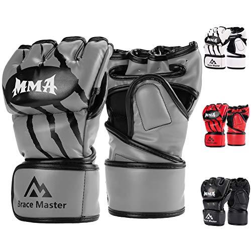 Brace Master MMA Gloves UFC Gloves Boxing Gloves for Men Women Leather More Paddding Fingerless Punching Bag Gloves for Kickboxing, Sparring, Muay Thai and Heavy Bag (Gray, Large) ()