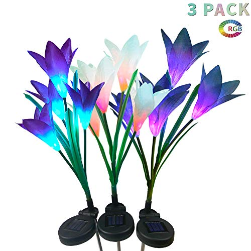 LUNSY Outdoor Solar Garden Stake Lights 3Pack, Solar Powered, Multi Color Changing LED 12 Lily Flower Lights for Garden, Patio, Backyard(Purple, White, Blue)