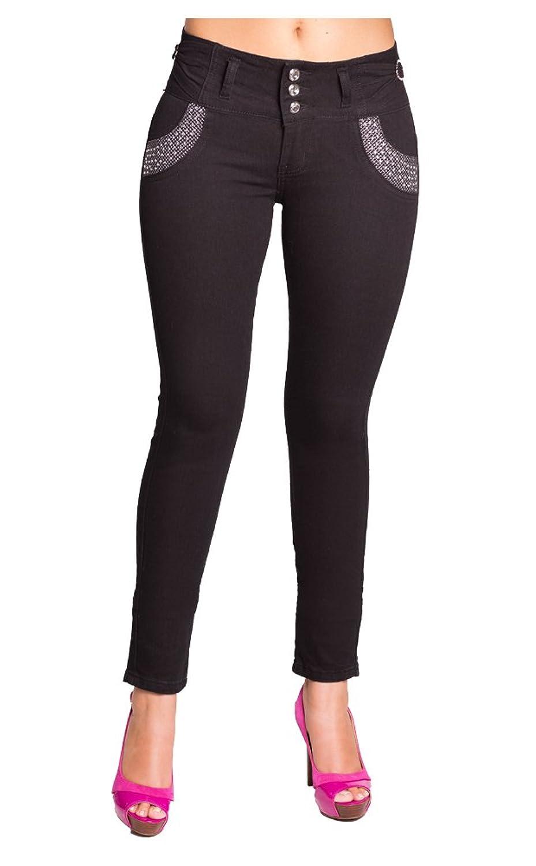 Rock Your Way High Waist Women Jade Jeans with Rhinestone Designed Pockets