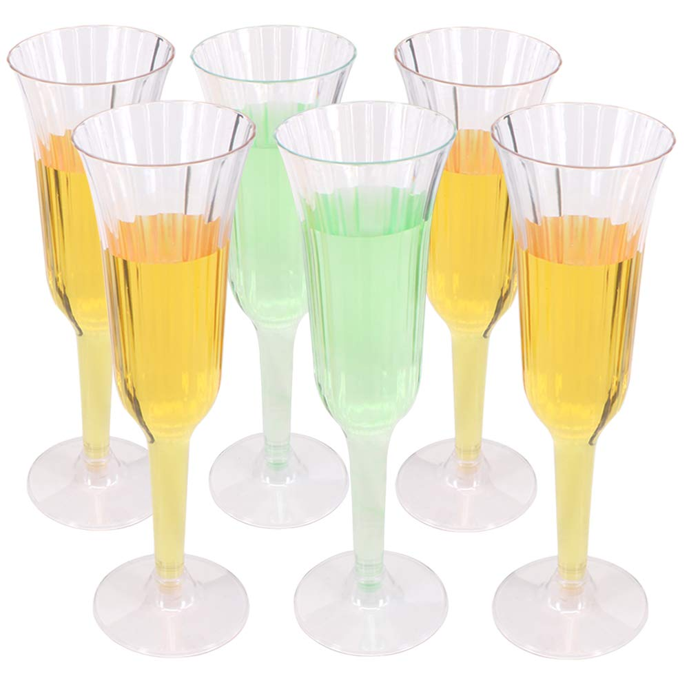 Benail 60 Pack 5.5 oz Clear Plastic Champagne Glass Champagne Wedding Parties Toasting Flutes Party Cocktail Cups