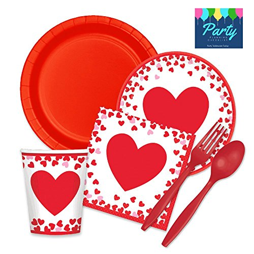 Party Supplies Tableware Set for 16 Guests - Plates, Napkins, Cups, Plasticware (Heart Plates Set)